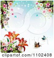Clipart Blue Butterfly Blossom And Lily Background Royalty Free Vector Illustration