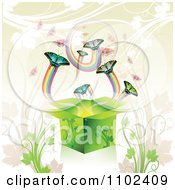 Clipart Butterfly Gift Box Background 3 Royalty Free Vector Illustration