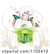 Clipart Butterfly Gift Box Background 4 Royalty Free Vector Illustration