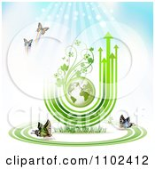 Clipart Butterfly Trail And Globe Background 5 Royalty Free Vector Illustration by merlinul