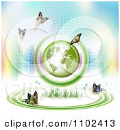 Clipart Butterfly Trail And Globe Background 9 Royalty Free Vector Illustration