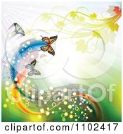 Clipart Butterflies With Magical Trails Foliage And Copyspace Royalty Free Vector Illustration