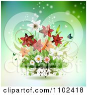 Clipart Butterfly And Lily Background 2 Royalty Free Vector Illustration