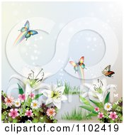 Clipart Butterfly And Lily Background 3 Royalty Free Vector Illustration