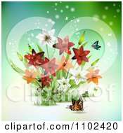 Clipart Butterfly And Lily Background 1 Royalty Free Vector Illustration