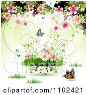 Clipart Butterfly Grass And Spring Flower Background 4 Royalty Free Vector Illustration