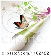 Clipart Butterfly On A Turning Green Page 3 Royalty Free Vector Illustration by merlinul