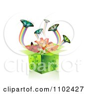 Clipart Butterfly Gift Box Background 2 Royalty Free Vector Illustration