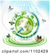 Clipart Butterfly Trail And Globe Background 1 Royalty Free Vector Illustration