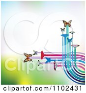Clipart Butterfly Trail Background 3 Royalty Free Vector Illustration