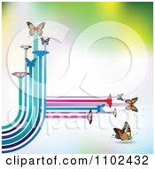 Clipart Butterfly Trail Background 4 Royalty Free Vector Illustration