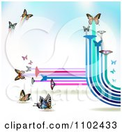 Clipart Butterfly Trail Background 5 Royalty Free Vector Illustration
