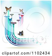 Clipart Butterfly Trail Background 6 Royalty Free Vector Illustration