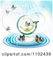 Clipart Butterfly Conservation Sphere Background Royalty Free Vector Illustration