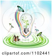 Clipart Butterfly And Green Energy Light Bulb Background Royalty Free Vector Illustration