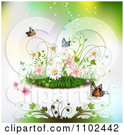 Clipart Butterfly Grass And Spring Flower Background 3 Royalty Free Vector Illustration