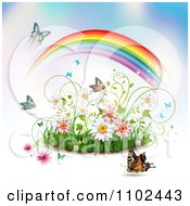 Clipart Butterfly Rainbow Grass And Spring Flower Background Royalty Free Vector Illustration