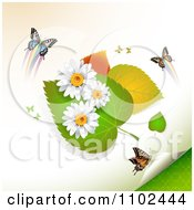 Clipart Butterfly Daisy And Leaf Background 2 Royalty Free Vector Illustration