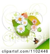 Clipart Butterfly Daisy And Leaf Background 4 Royalty Free Vector Illustration