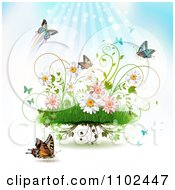 Clipart Butterfly Grass And Spring Flower Background 1 Royalty Free Vector Illustration