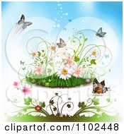 Clipart Butterfly Grass And Spring Flower Background 2 Royalty Free Vector Illustration