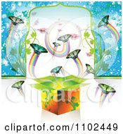 Clipart Butterfly Gift Box Background 5 Royalty Free Vector Illustration