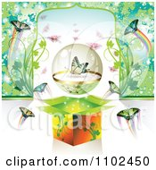 Clipart Butterfly Gift Box Background 6 Royalty Free Vector Illustration