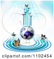 Clipart Butterfly Trail And Globe Background 4 Royalty Free Vector Illustration