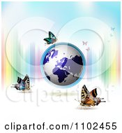 Clipart Butterfly And Globe Background Royalty Free Vector Illustration