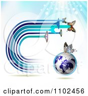 Clipart Butterfly Trail And Globe Background 2 Royalty Free Vector Illustration