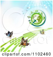 Clipart Butterfly Trail And Globe Background 7 Royalty Free Vector Illustration