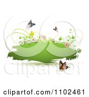 Clipart Butterfly And Floral Green Grunge Banner Royalty Free Vector Illustration