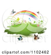 Clipart Butterfly And Rainbow Green Grunge Banner 1 Royalty Free Vector Illustration