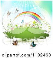 Clipart Butterfly And Rainbow Green Grunge Banner 2 Royalty Free Vector Illustration