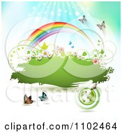 Clipart Butterfly And Rainbow Green Grunge Banner 3 Royalty Free Vector Illustration