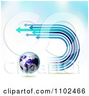 Clipart Arrow Trails And Globe Background 3 Royalty Free Vector Illustration