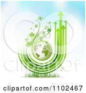 Clipart Arrow Trails And Green Floral Globe Background Royalty Free Vector Illustration by merlinul
