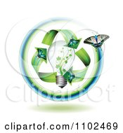 Clipart Green Energy Butterfly Arrows Around A Light Bulb Royalty Free Vector Illustration by merlinul #COLLC1102469-0175