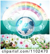 Clipart 3d Blue Globe With Paw Print Sound Waves Under A Rainbow With Flowers Royalty Free Vector Illustration