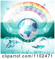 Clipart 3d Blue Globe With Paw Print Sound Waves Under A Rainbow With Dolphins Royalty Free Vector Illustration
