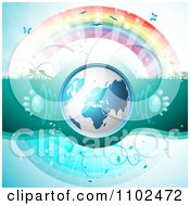 Clipart 3d Blue Globe With Paw Print Sound Waves Under A Rainbow Royalty Free Vector Illustration