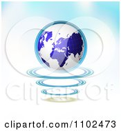 Clipart 3d Blue Globe Over Circles On Gradient Royalty Free Vector Illustration
