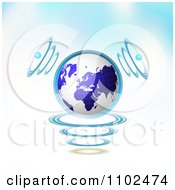 Clipart 3d Blue Globe With Communication Sound Waves On Gradient Royalty Free Vector Illustration