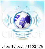 Clipart 3d Blue Globe With Paw Print Sound Waves On Gradient Royalty Free Vector Illustration