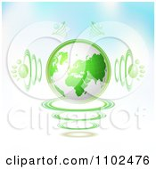 Clipart 3d Green Globe With Paw Print Sound Waves On Gradient Royalty Free Vector Illustration