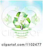 Clipart 3d Light Bulb With Paw Print Sound Waves And Butterfly Recycle Arrows On Gradient Royalty Free Vector Illustration by merlinul