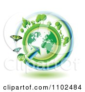 Clipart Butterflies With A Go Arrow Around A Green Globe With Tress Horses And Homes On Top Royalty Free Vector Illustration by merlinul