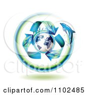 Clipart Dolphin Arrows Around A Globe Royalty Free Vector Illustration by merlinul