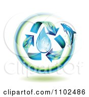 Clipart Dolphin Arrows Around A Water Drop Royalty Free Vector Illustration by merlinul