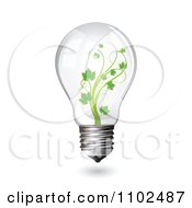 Clipart Renewable Green Energy Light Bulb With A Vine Royalty Free Vector Illustration by merlinul